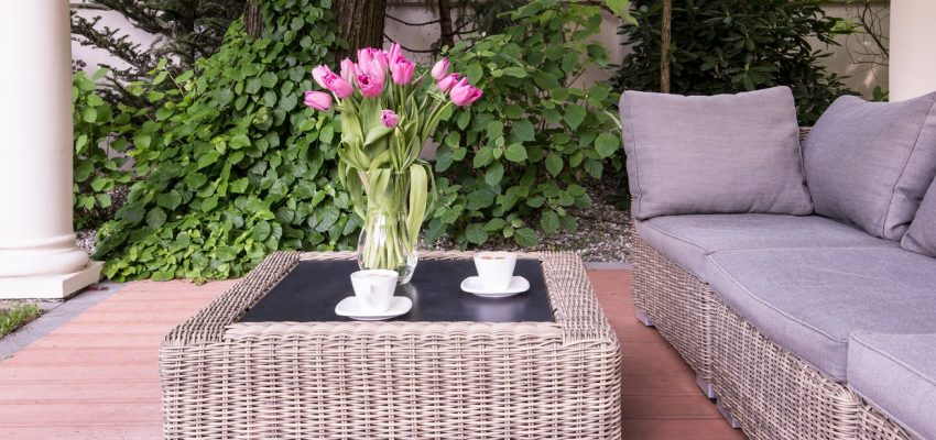 Coffee table in the garden